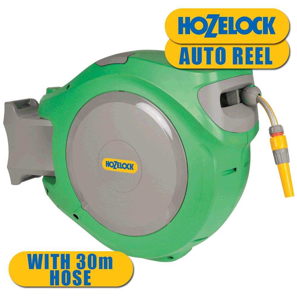 30 Metre Hozelock Retractable Wall Mounted Garden Auto Reel Outdoor Hose System Ebay