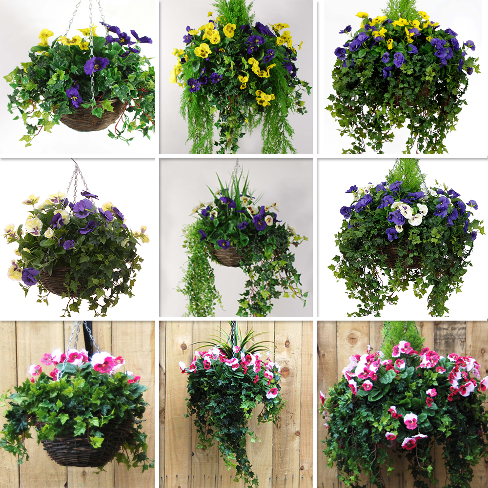 Decorative Hanging Flower Baskets : Artificial pansy hanging basket various colours sizes