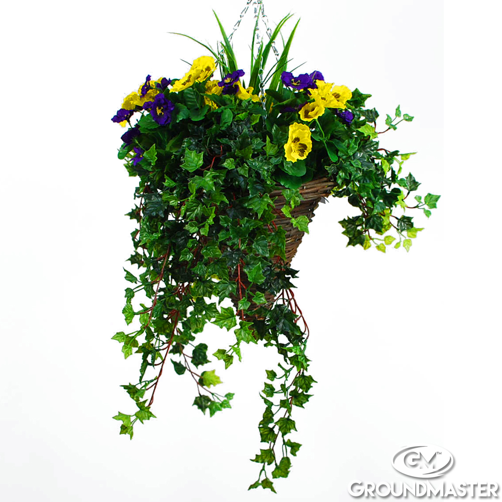 Decorative Hanging Flower Baskets : Decorative purple yellow artificial hanging baskets