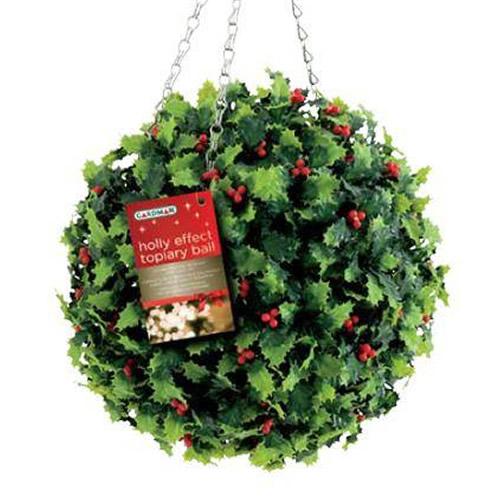 Cm gardman artificial christmas topiary ball holly