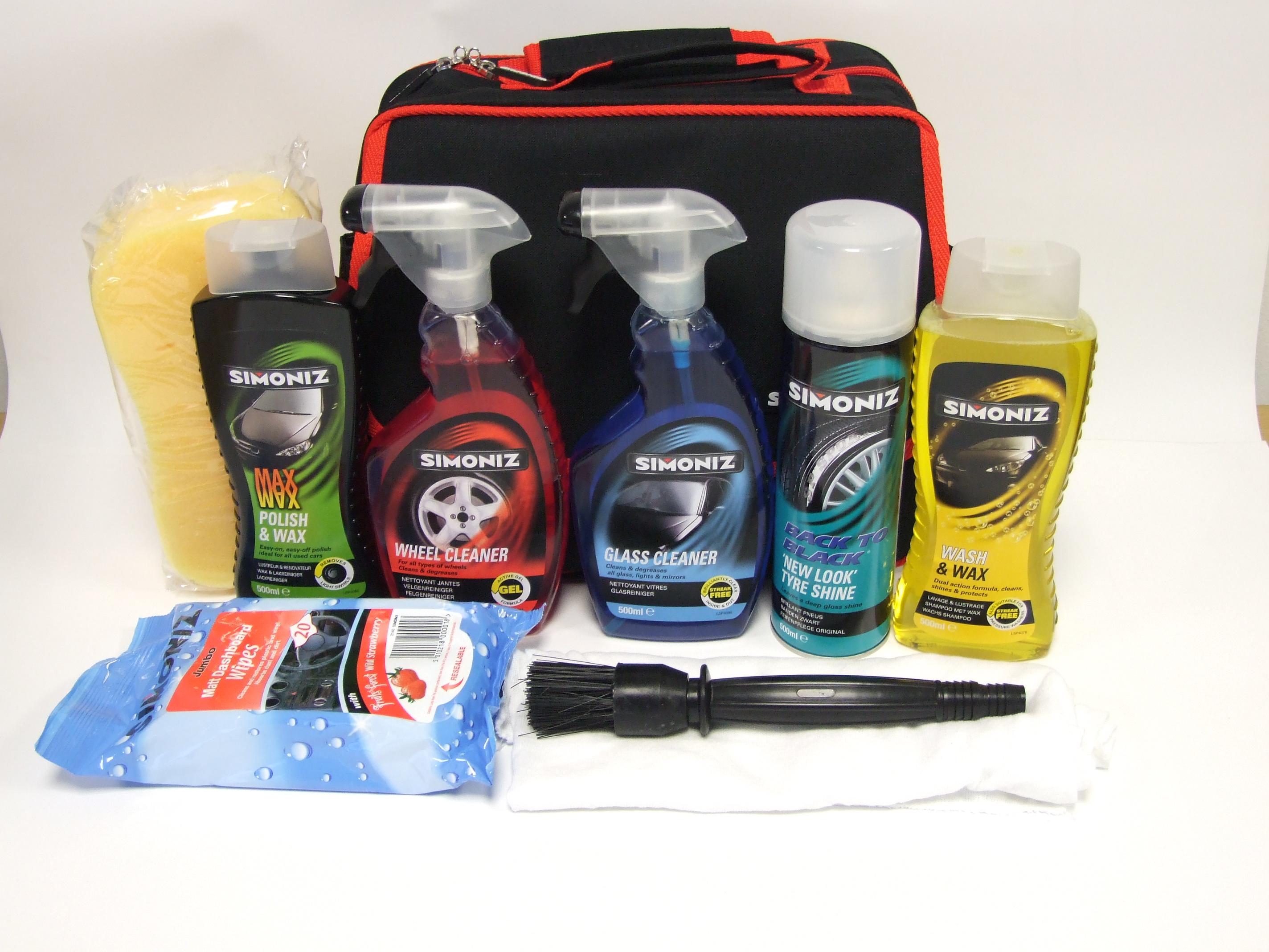 premium simoniz full car cleaning valeting detailing kit with bag 10 items ebay. Black Bedroom Furniture Sets. Home Design Ideas