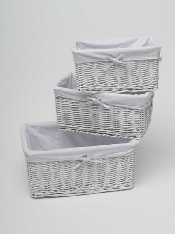 shabby chic white wicker storage basket shelving h19cm x. Black Bedroom Furniture Sets. Home Design Ideas