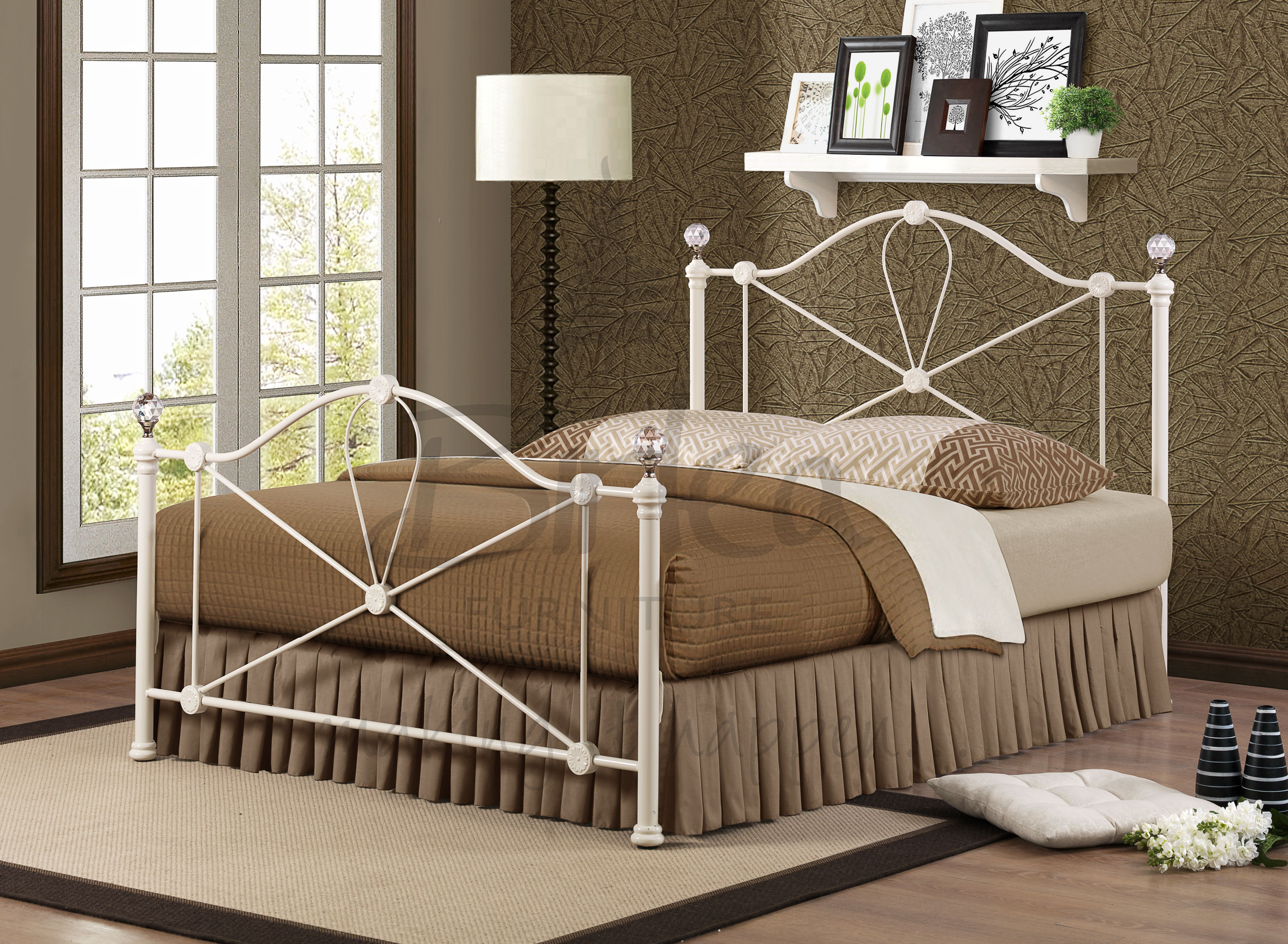 Modern Metal Bed Frames jasmine crystal cream finish double (app 4ft6 135cm) modern metal