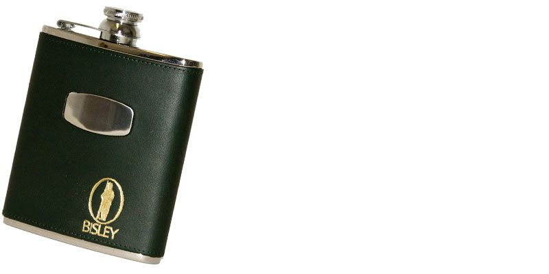 Bisley Hip Flask & Box Shooting Hunting Gift 6oz Stainless Steel & Green Leather