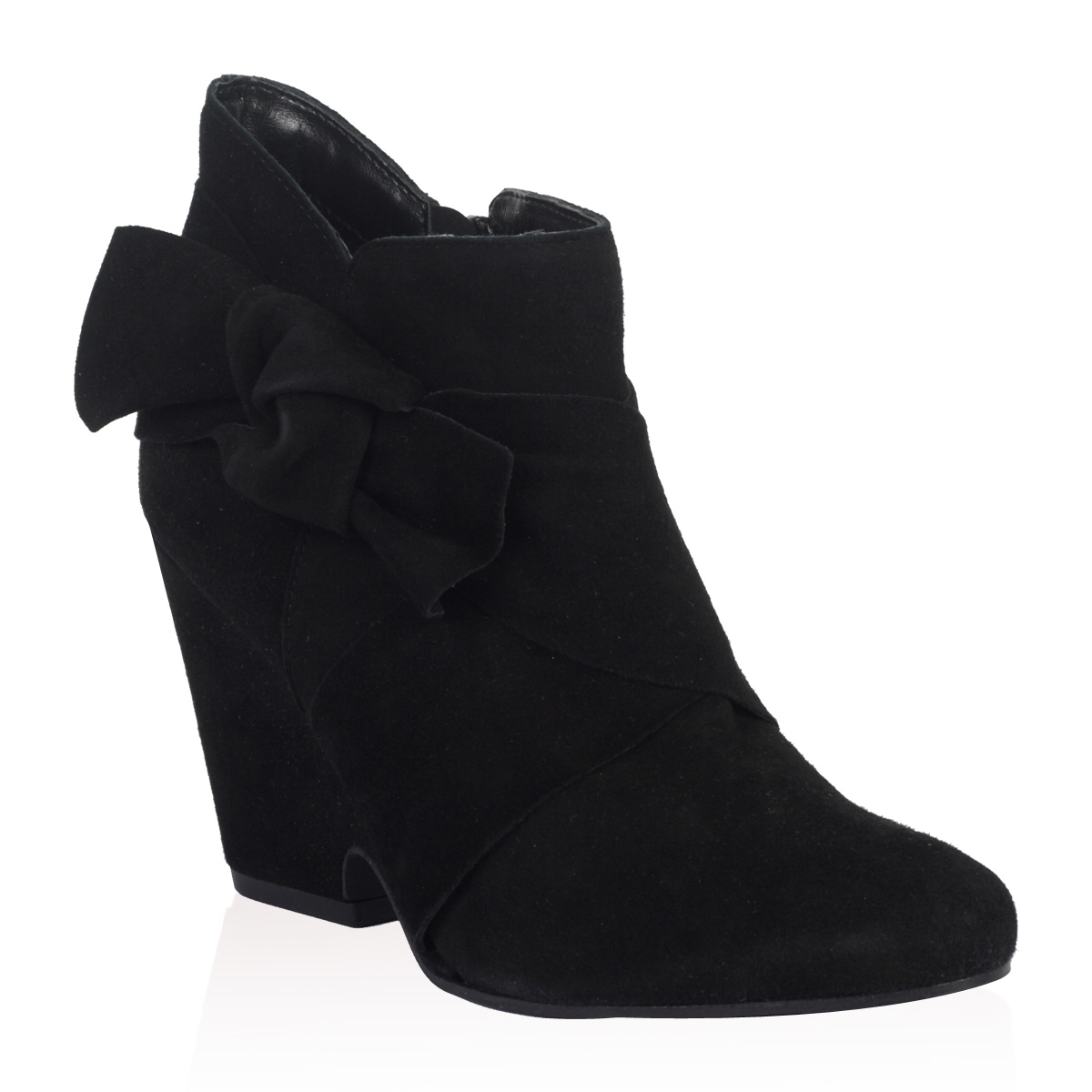 NEW-DUNE-LADIES-KILIMANJA-WOMENS-BLACK-BOW-DEMI-BLOCK-WEDGE-ANKLE-BOOTS-SIZE-3-8