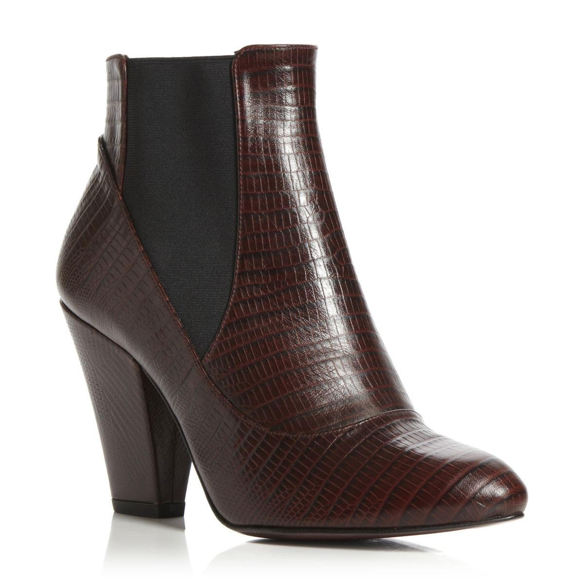 PIED-A-TERRE-LADIES-SATRE-BROWN-LEATHER-CROC-WOMENS-HEEL-ANKLE-BOOTS-SIZE-3-8-UK