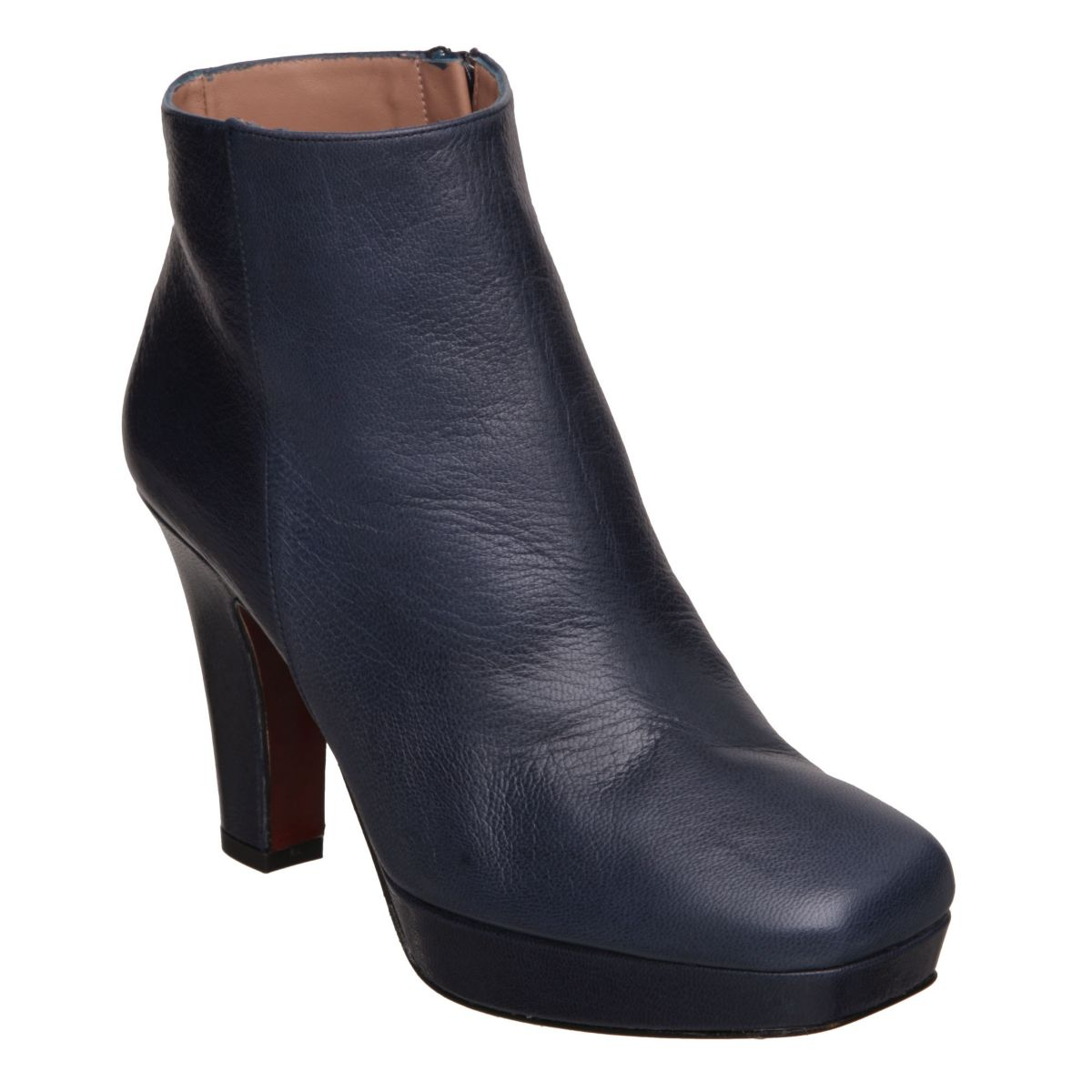 PIED-A-TERRE-SNYDERS-BLUE-LEATHER-LADIES-HIGH-HEEL-WOMENS-ANKLE-BOOTS-SIZE-3-8