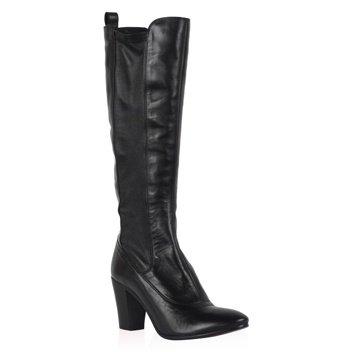 NEW-PIED-A-TERRE-LADIES-PARLE-WOMENS-BLACK-BLOCK-HEEL-KNEE-HIGH-BOOTS-SIZE-3-8