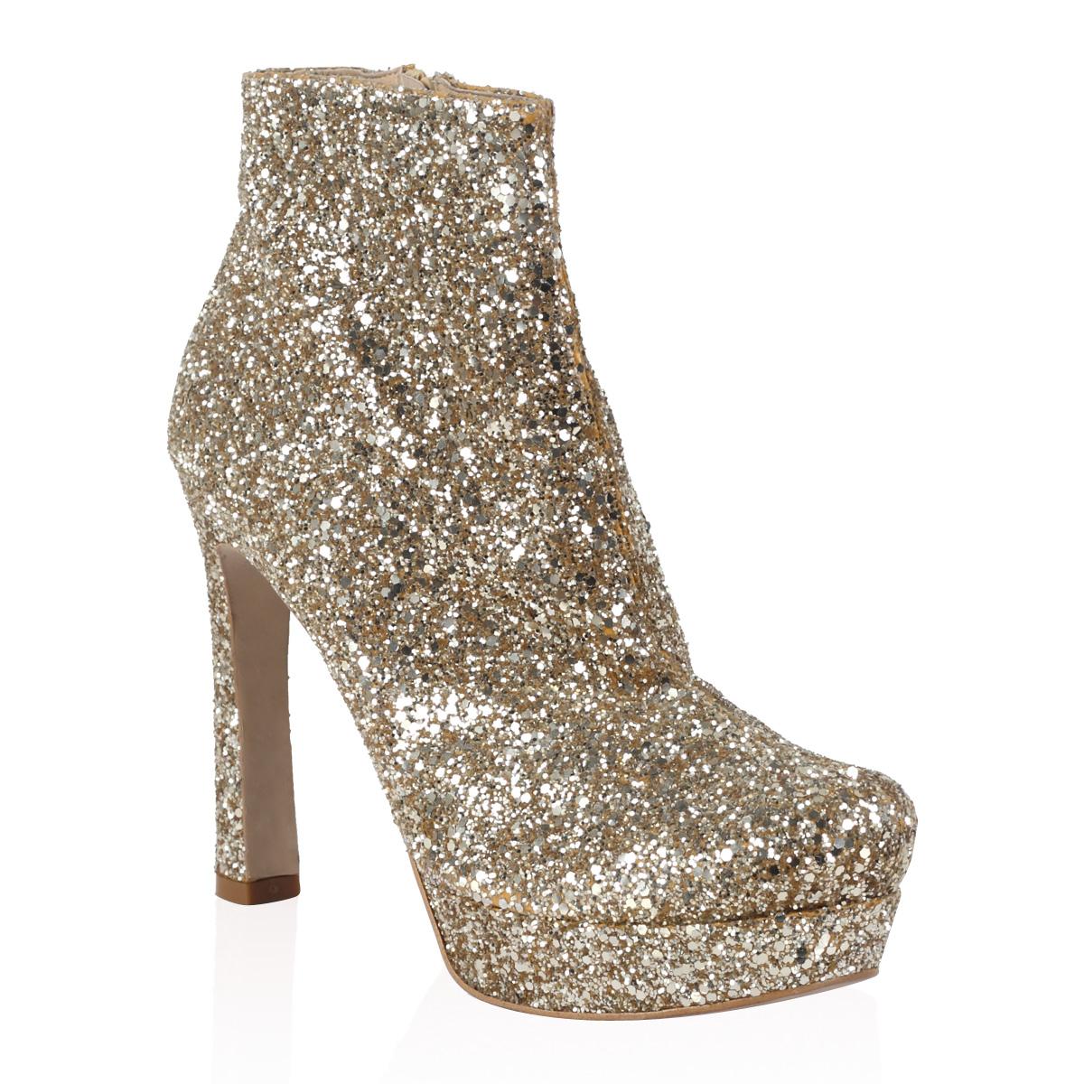 new dune womens gold glitter platform slim heel