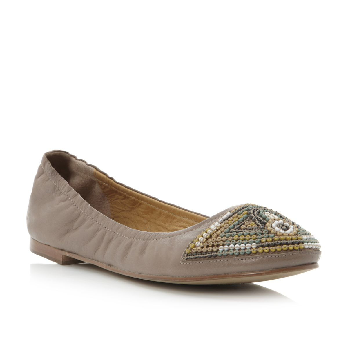 BERTIE-LADIES-MEADED-WOMENS-NUDE-BEADED-LEATHER-BALLERINA-FLATS-SHOES-SIZE-3-8