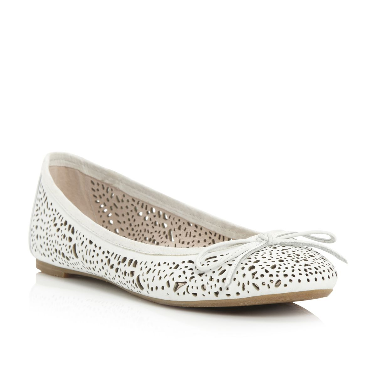 BERTIE-LADIES-MANDIE-WOMENS-WHITE-LASER-CUT-OUT-BALLERINA-FLATS-SHOES-SIZE-3-8