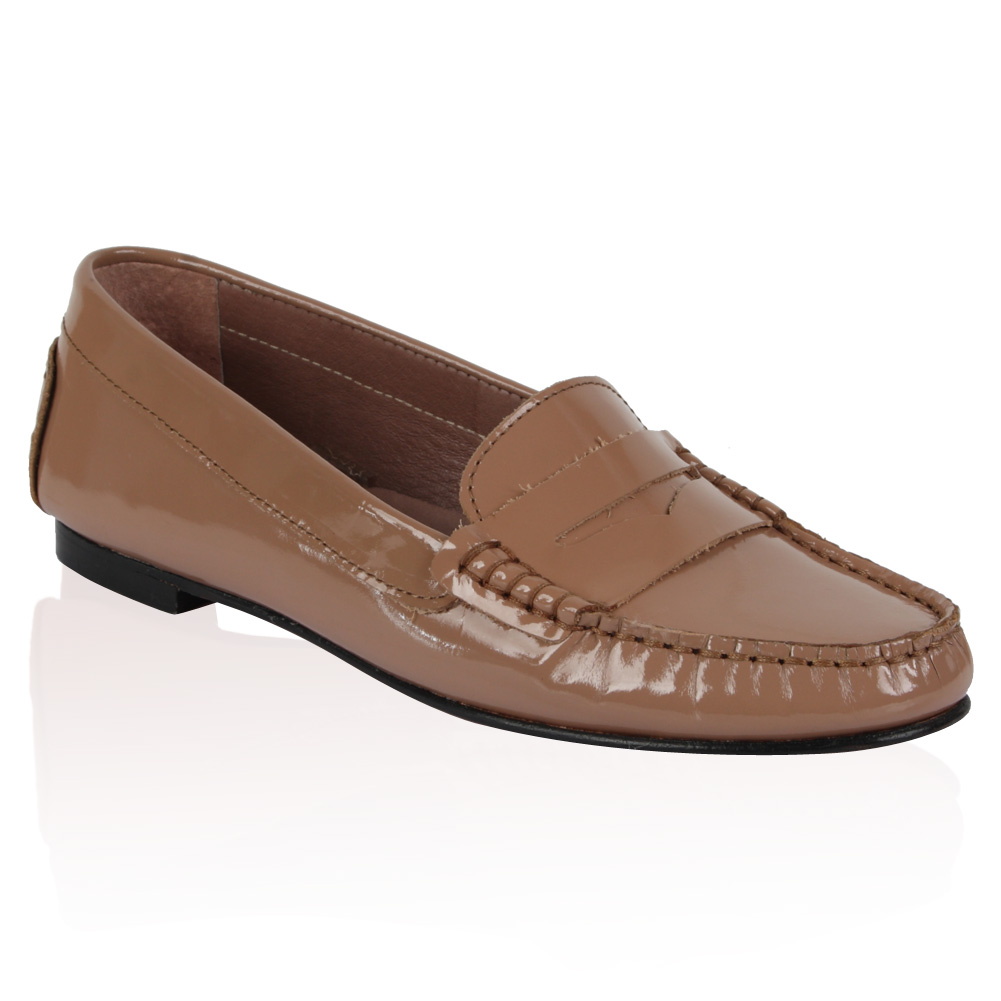 PIED-A-TERRE-LADIES-GINSBERG-WOMENS-NUDE-PATENT-MOCCASIN-LOAFERS-SHOES-SIZE-3-8