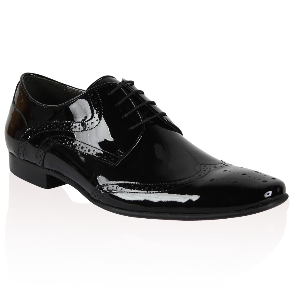 NEW-DUNE-MENS-ACIDIC-BLACK-PATENT-LACE-UP-FORMAL-SMART-BROGUE-SHOES-SIZE-6-12-UK