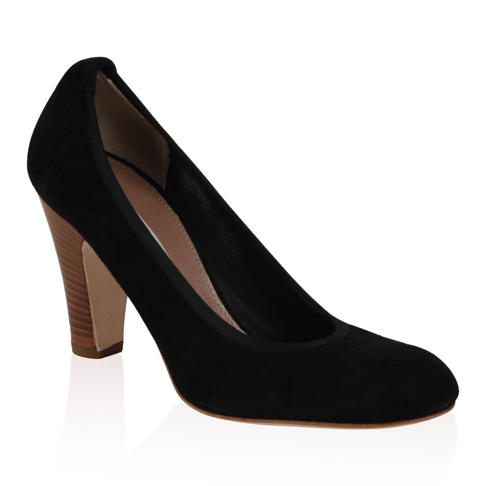 PIED-A-TERRE-LADIES-ABHA-WOMENS-BLACK-SUEDE-STACKED-HEEL-COURT-SHOES-SIZE-3-8-UK