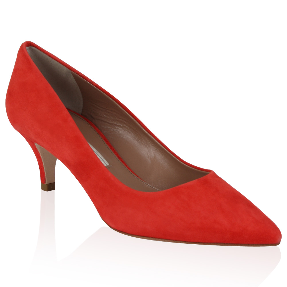 PIED-A-TERRE-LADIES-ABIR-WOMENS-CORAL-RED-POINTY-LOW-HEEL-COURT-SHOES-SIZE-3-8