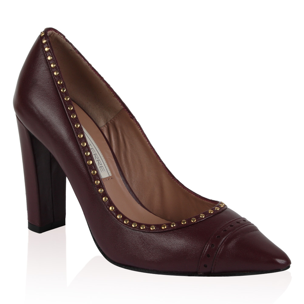 PIED-A-TERRE-LADIES-ANA-WOMENS-BURGUNDY-RED-STUDDED-POINTY-COURT-SHOES-SIZE-3-8