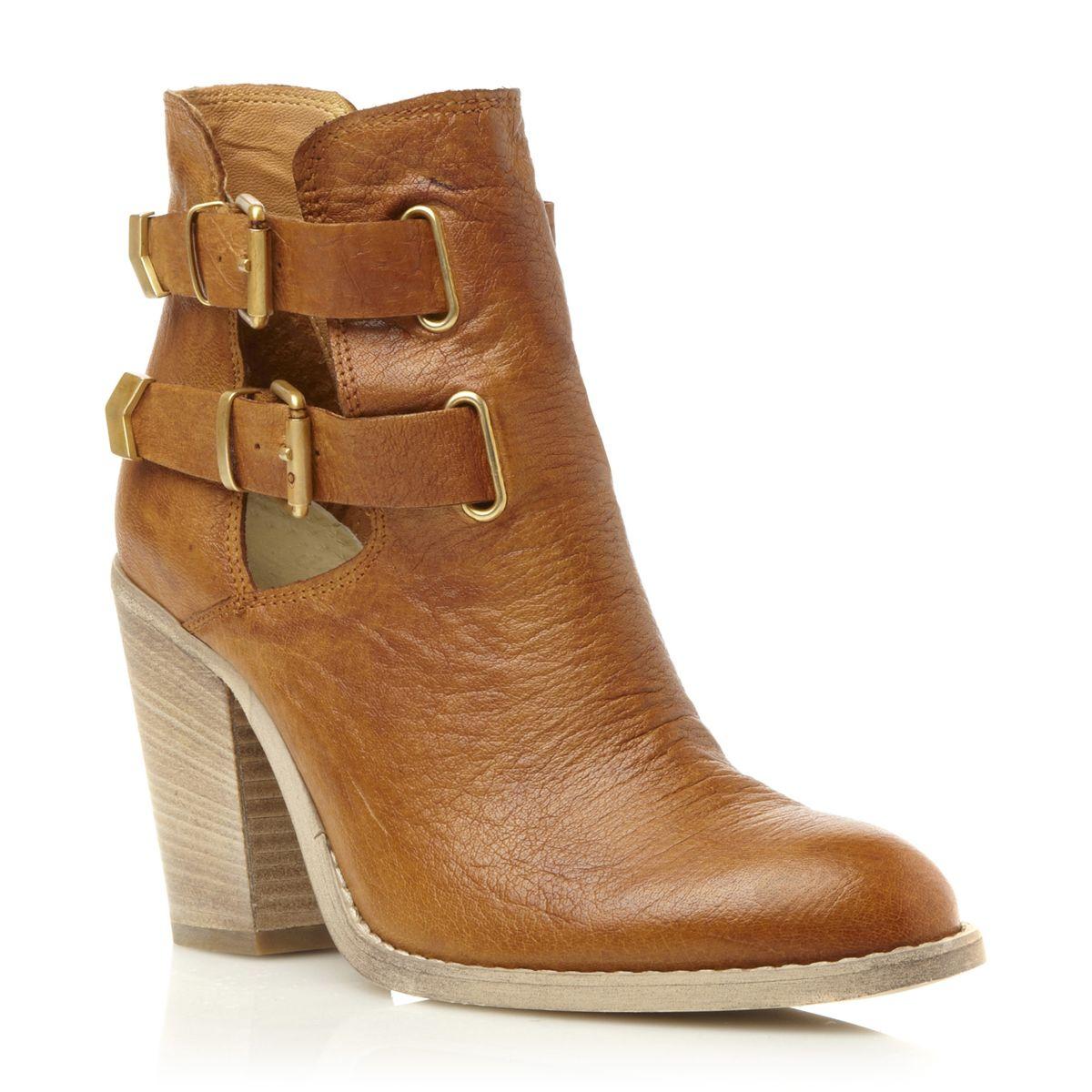 bertie priffy womens brown cut out block heel