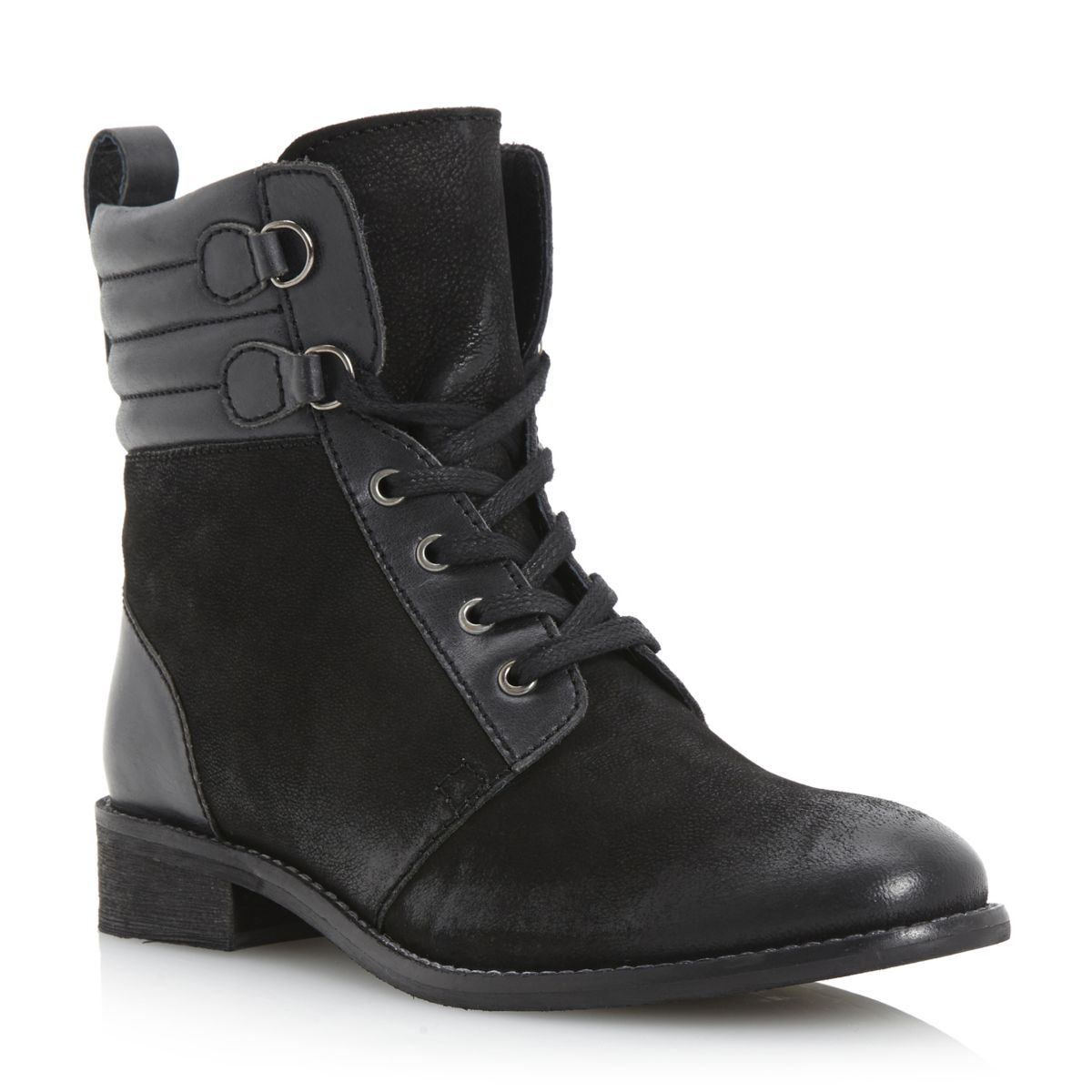 NEW-BERTIE-LADIES-PONTOS-WOMENS-BLACK-PADDED-CUFF-LACE-UP-ANKLE-BOOTS-SIZE-3-8