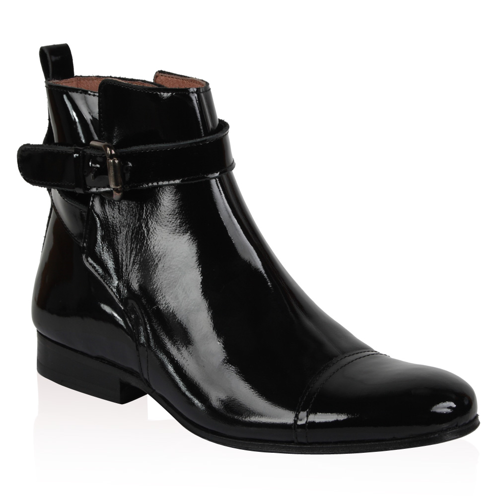 NEW-PIED-A-TERRE-LADIES-OREAN-WOMENS-BLACK-PATENT-BUCKLE-ANKLE-BOOTS-SIZE-3-8-UK