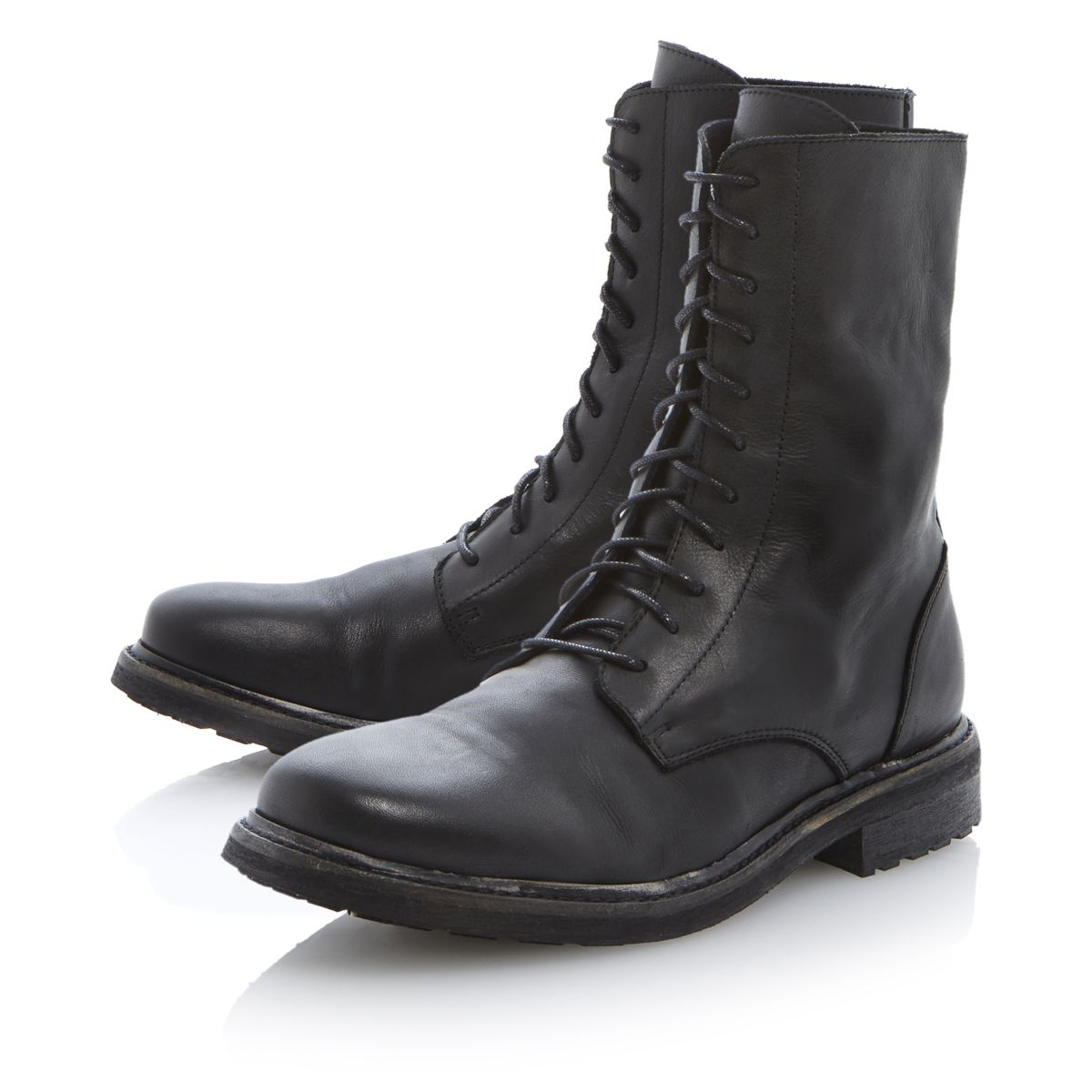 new mens bertie charcoal black leather lace up