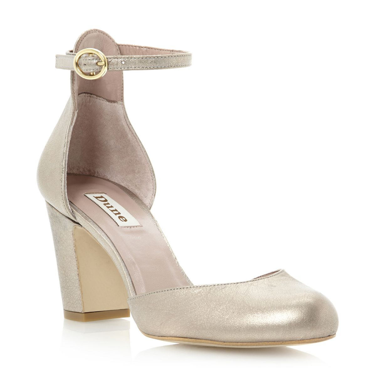 DUNE LADIES DAWN WOMENS PALE GOLD BLOCK HEEL ANKLE STRAP COURT ...