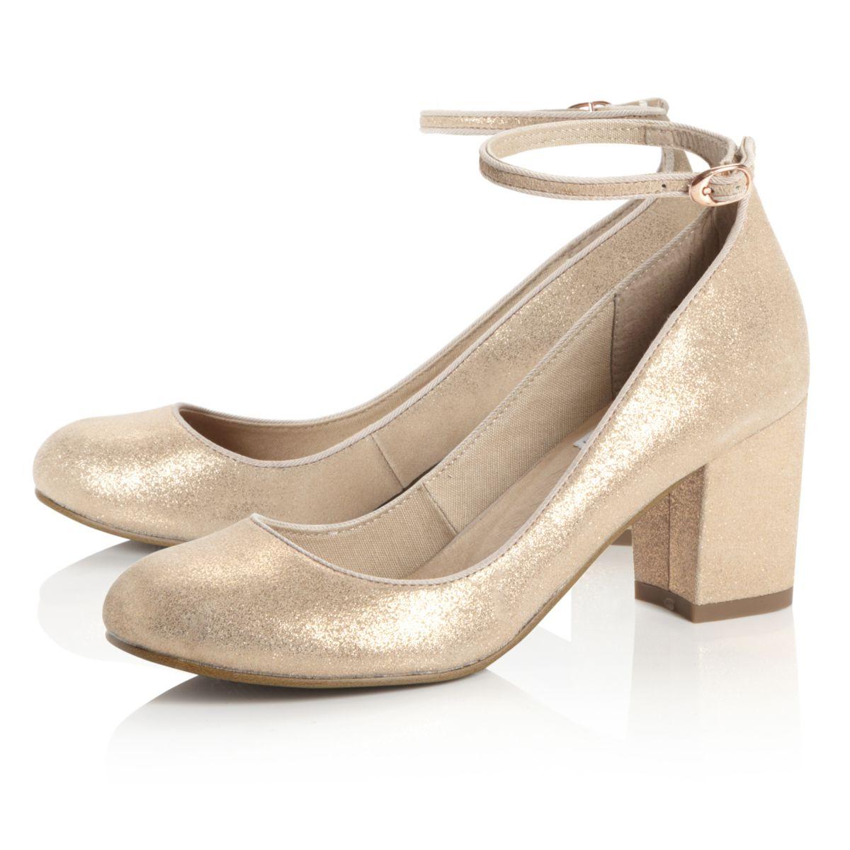 Gold Mid Heel Shoes | Fs Heel