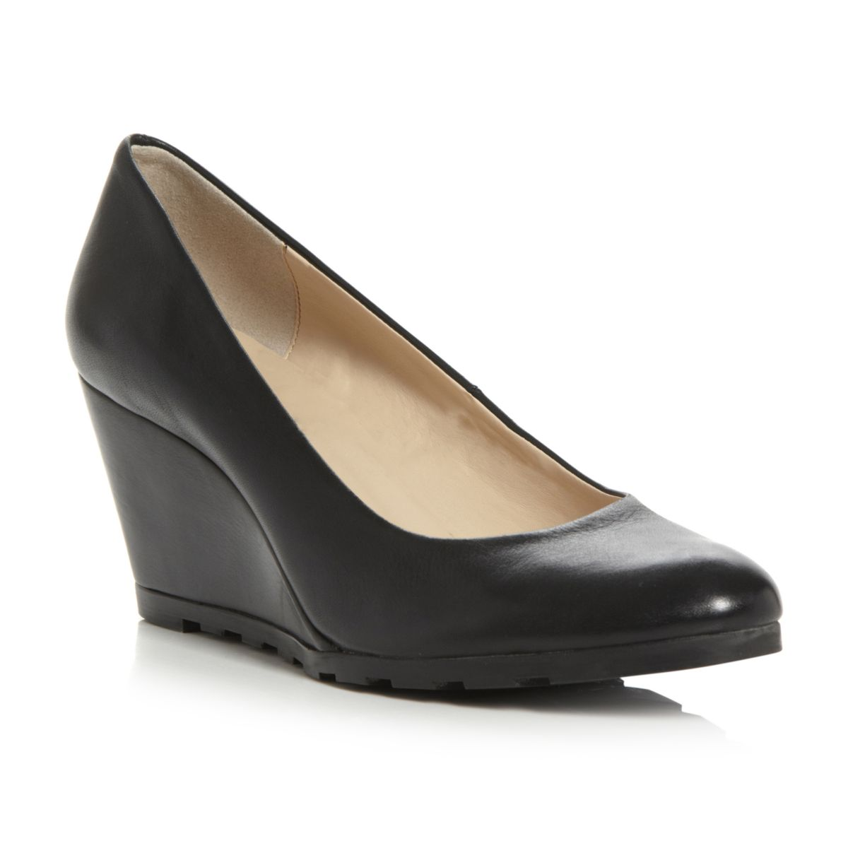 NEW-DUNE-LADIES-ATREAT-WOMENS-BLACK-CLEATED-MID-WEDGE-HEEL-COURT-SHOES-SIZE-3-8
