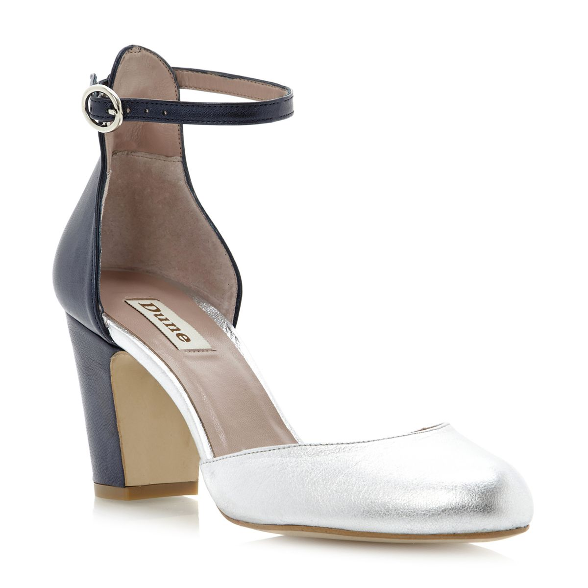 efb9f334108 DUNE LADIES DAWN WOMENS SILVER BLUE BLOCK HEEL ANKLE STRAP COURT .