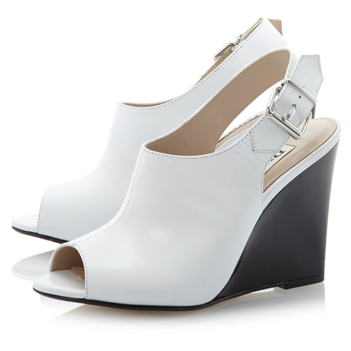 new dune geoxy leather womens peep toe wedge heel