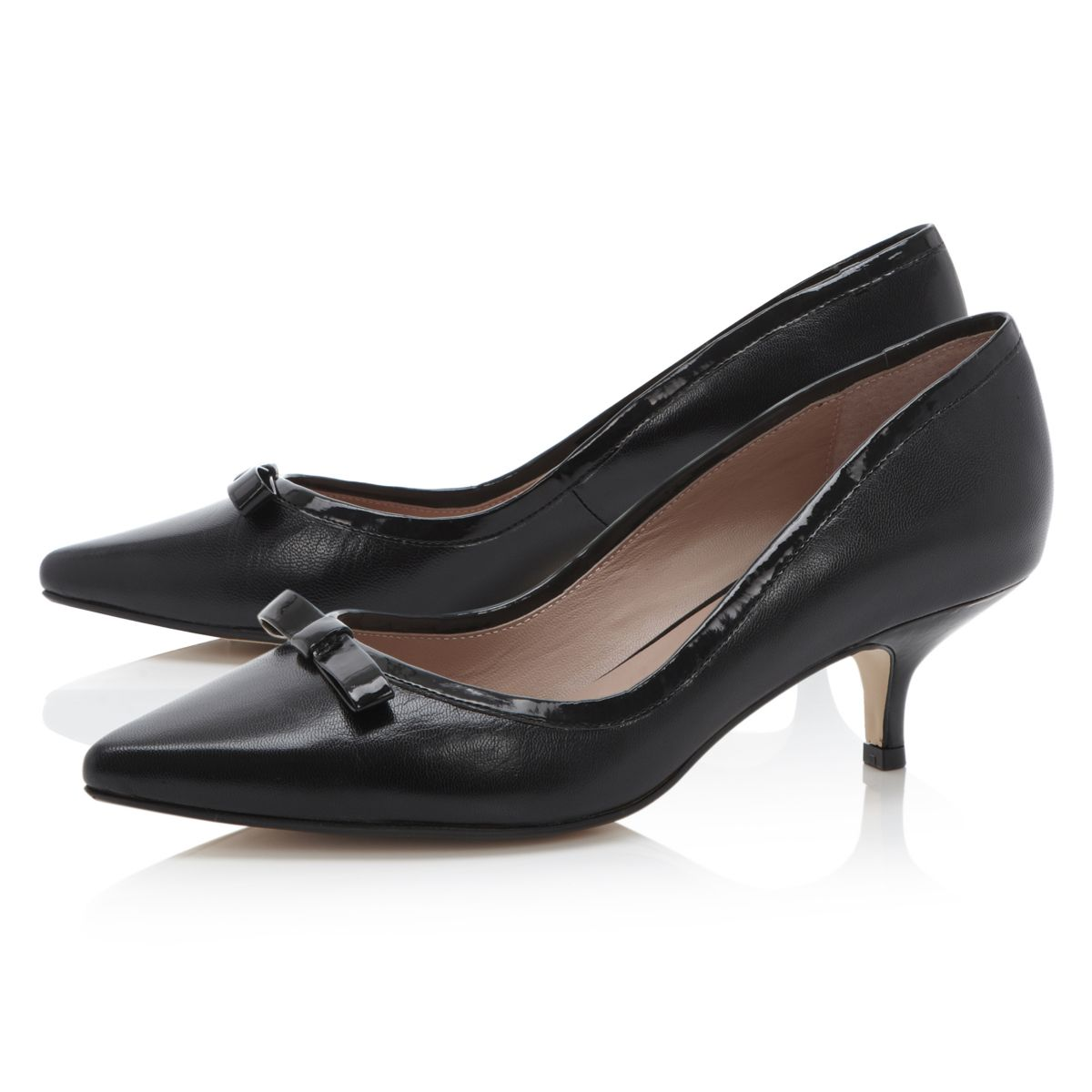 dune ladies aggie damen schwarz leder spitze flacher absatz pumps gr 36 42 ebay. Black Bedroom Furniture Sets. Home Design Ideas