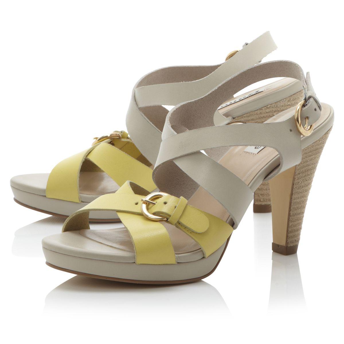 Strappy Grey Mid Heel Shoe