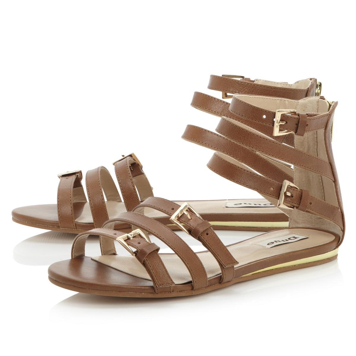 Women's sandals dune - Dune Ladies Jewel Womens Tan Brown Strappy Gladiator Flat Sandals Shoes Size 3 8
