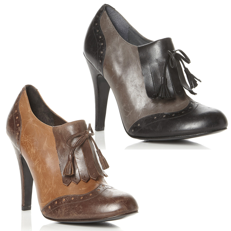 NEW DUNE WOMENS ABRIDGE LADIES LEATHER HIGH HEEL BROGUE ANKLE BOOTS ...