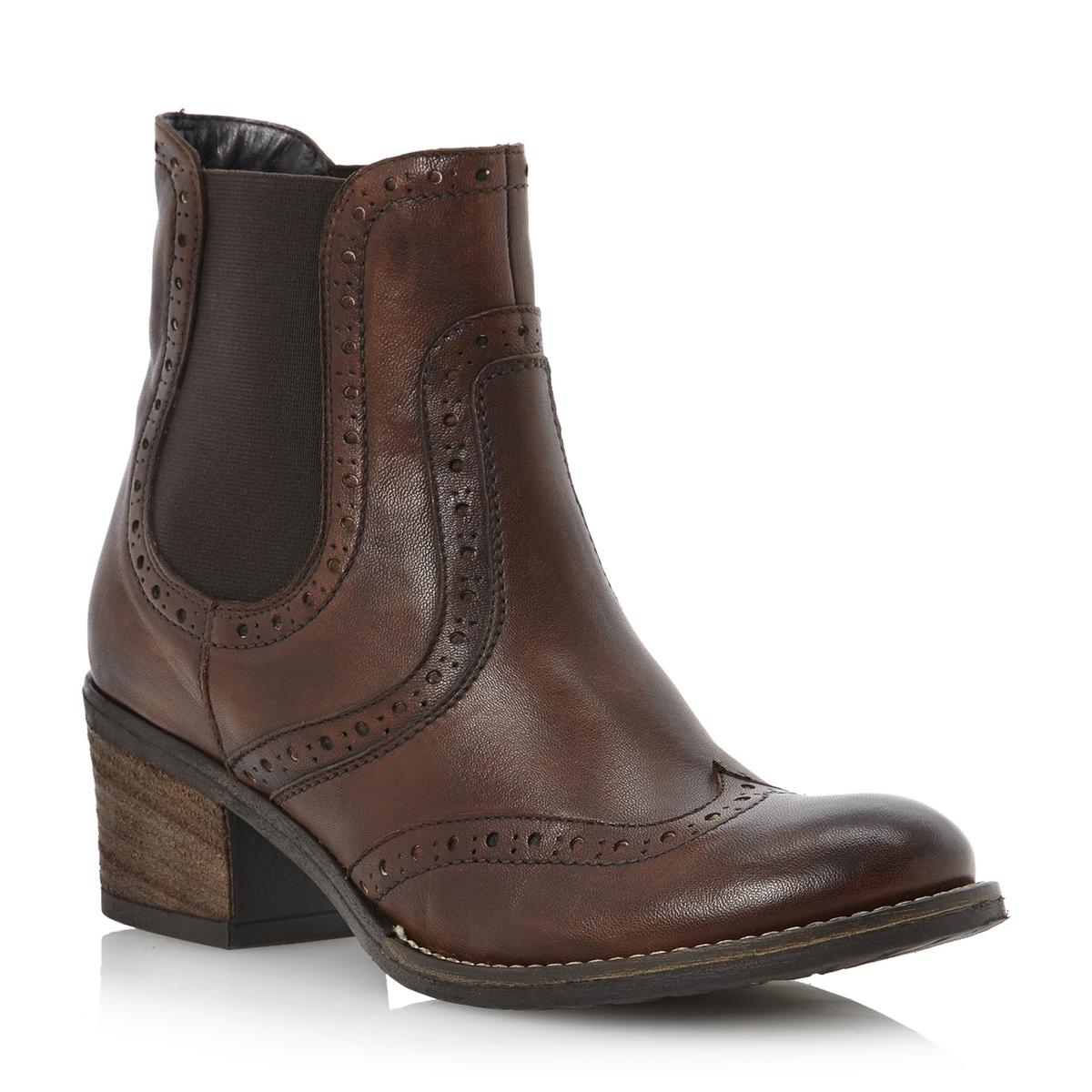 new dune prets womens brown leather brogue ankle