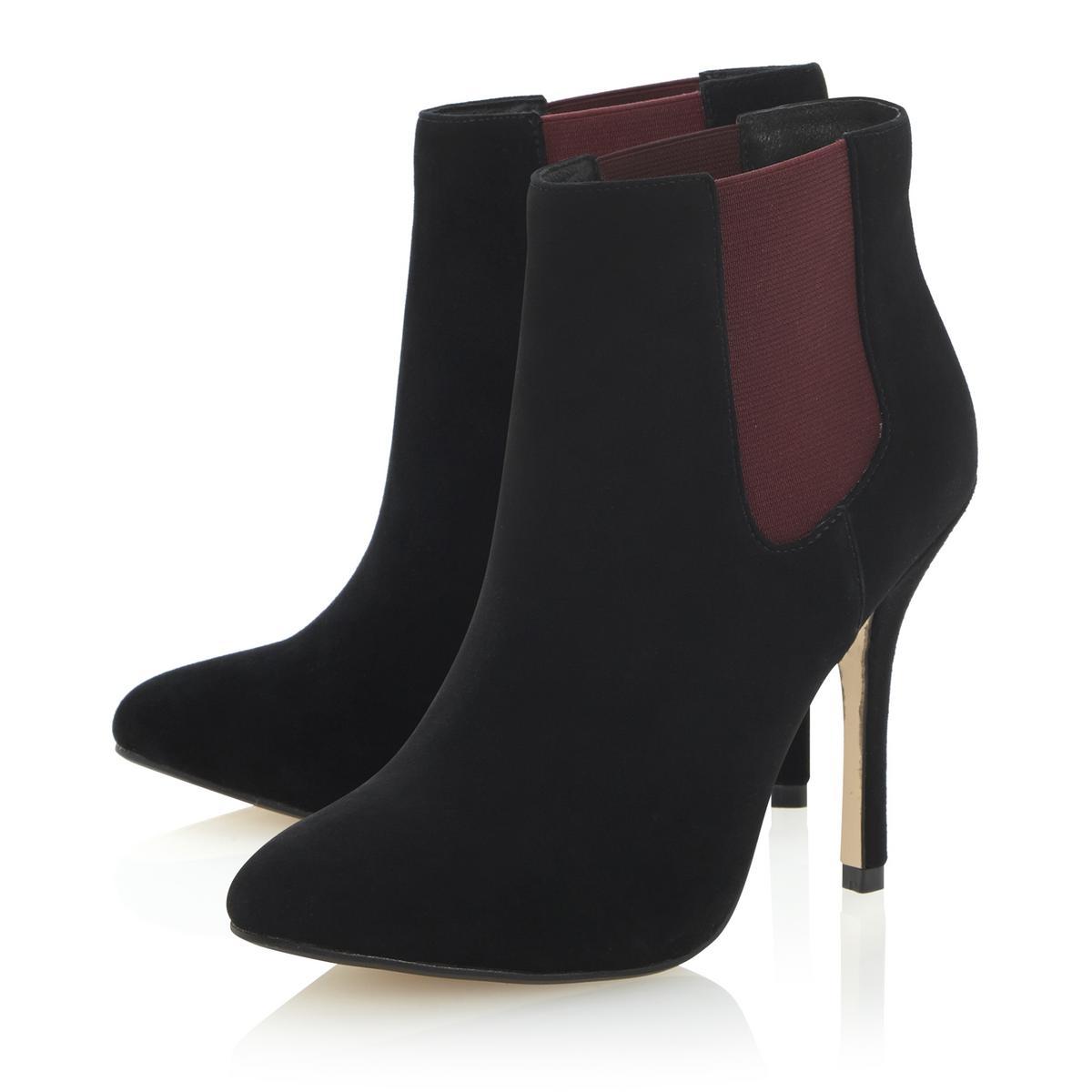 dune neesh womens black suede stiletto heel chelsea