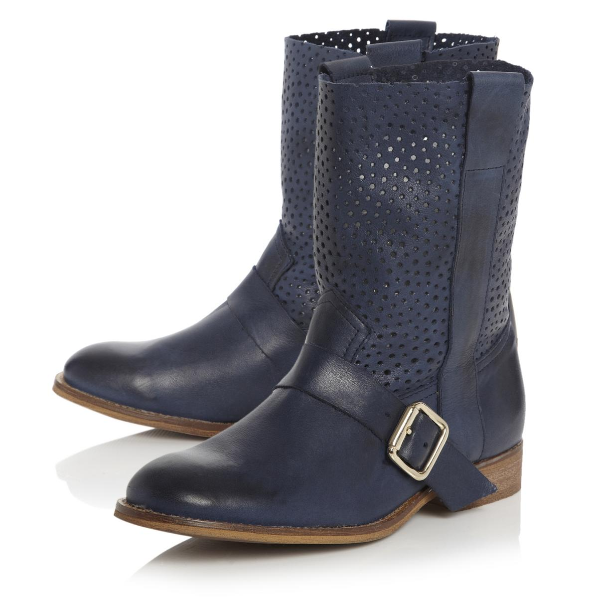 Beautiful MB Collection CalfLength Navy Blue Boots  Buy Women