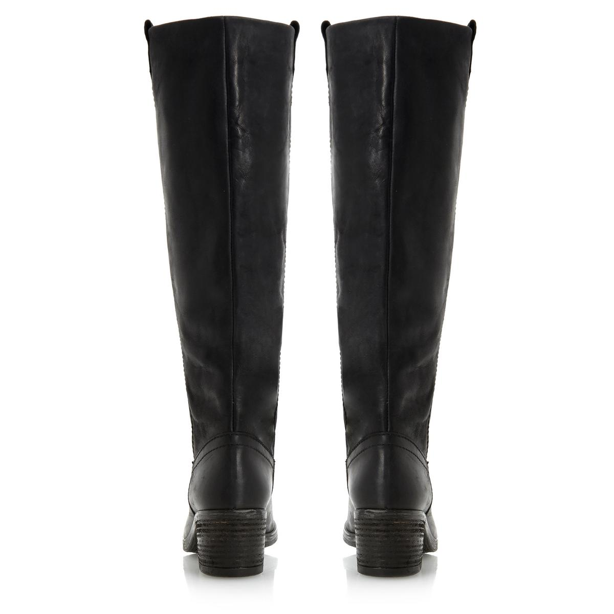 dune tandoms womens black leather low block heel