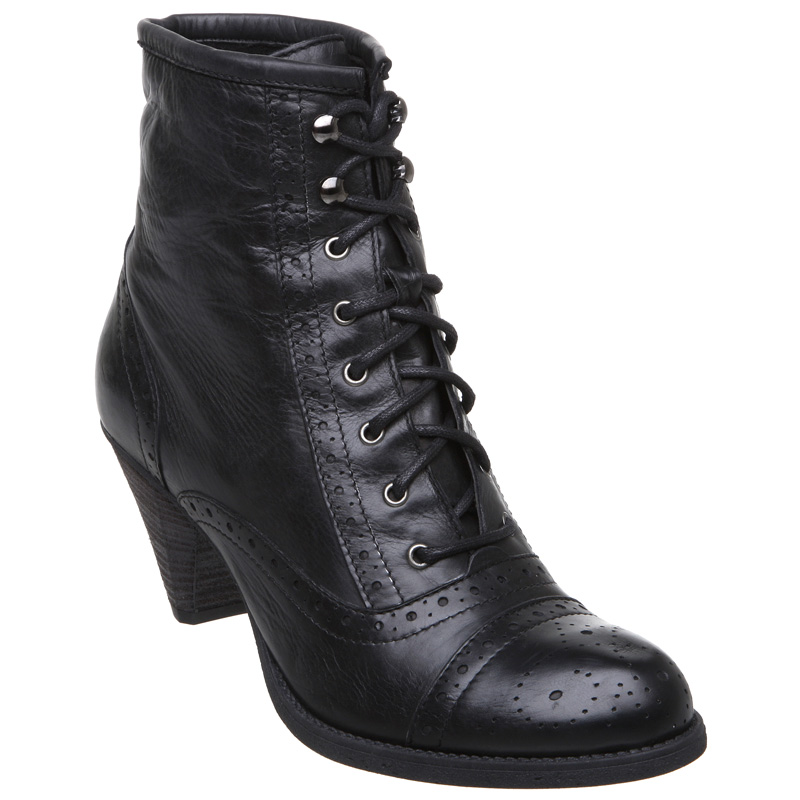 new dune womens black ration brogue lace up mid
