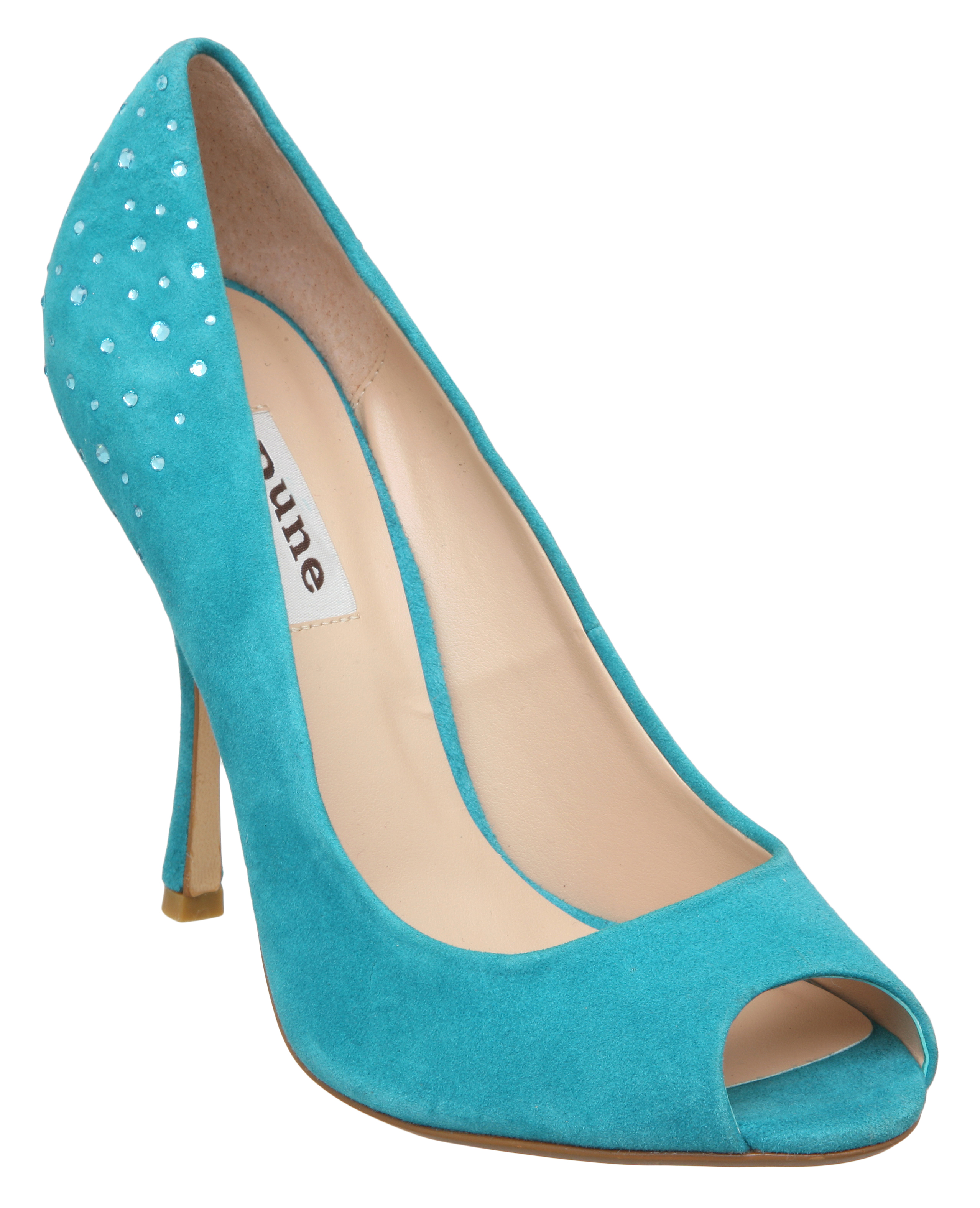 NEW-DUNE-LADIES-DRAMA-WOMENS-TURQUOISE-BLUE-DIAMANTE-PEEP-TOE-SHOES