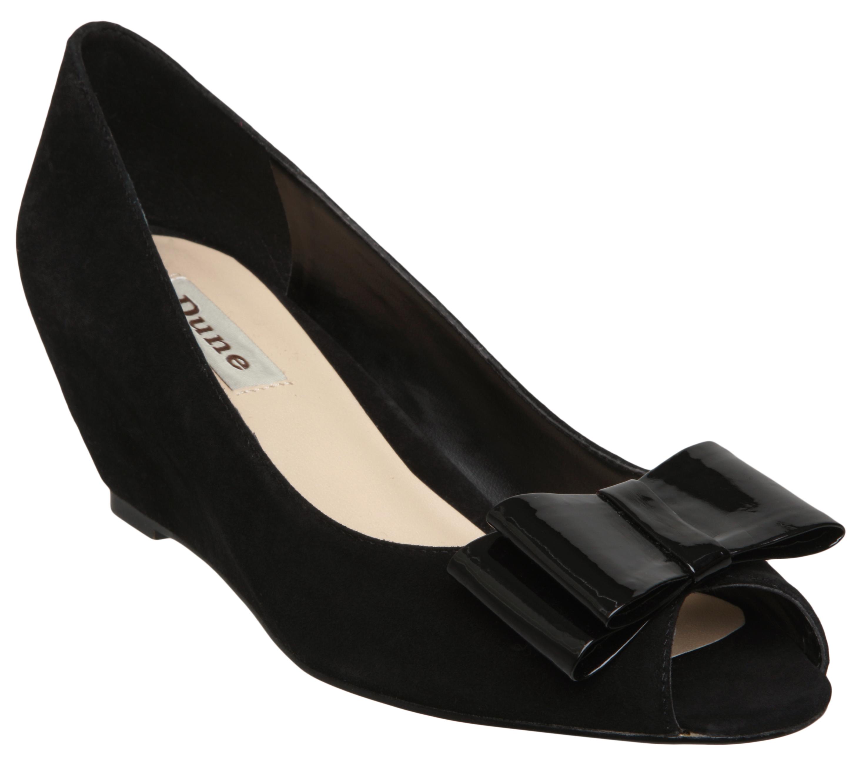 new dune chime womens black peep toe wedge heel bow