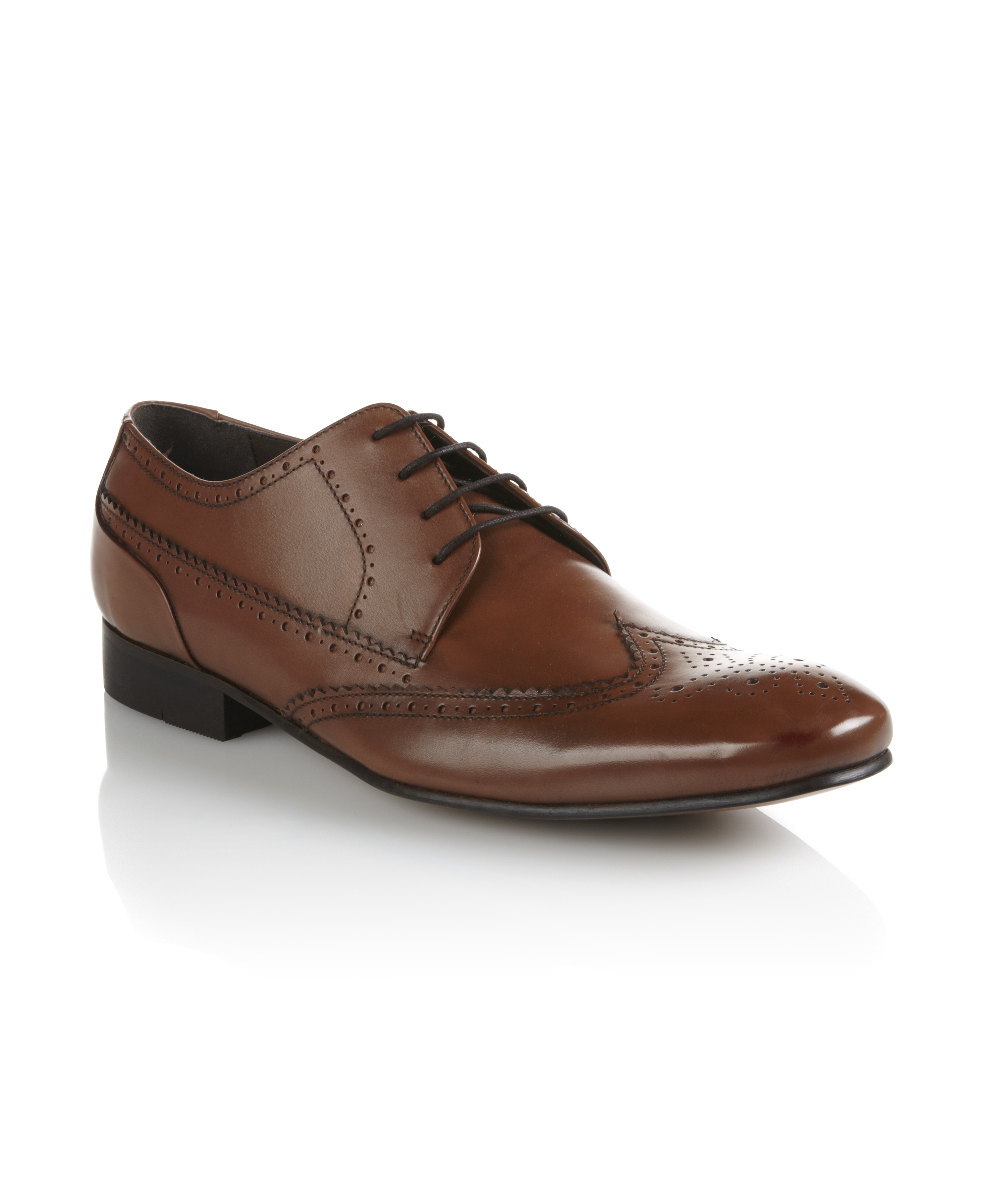 new dune mens brown lace up flat brogue formal