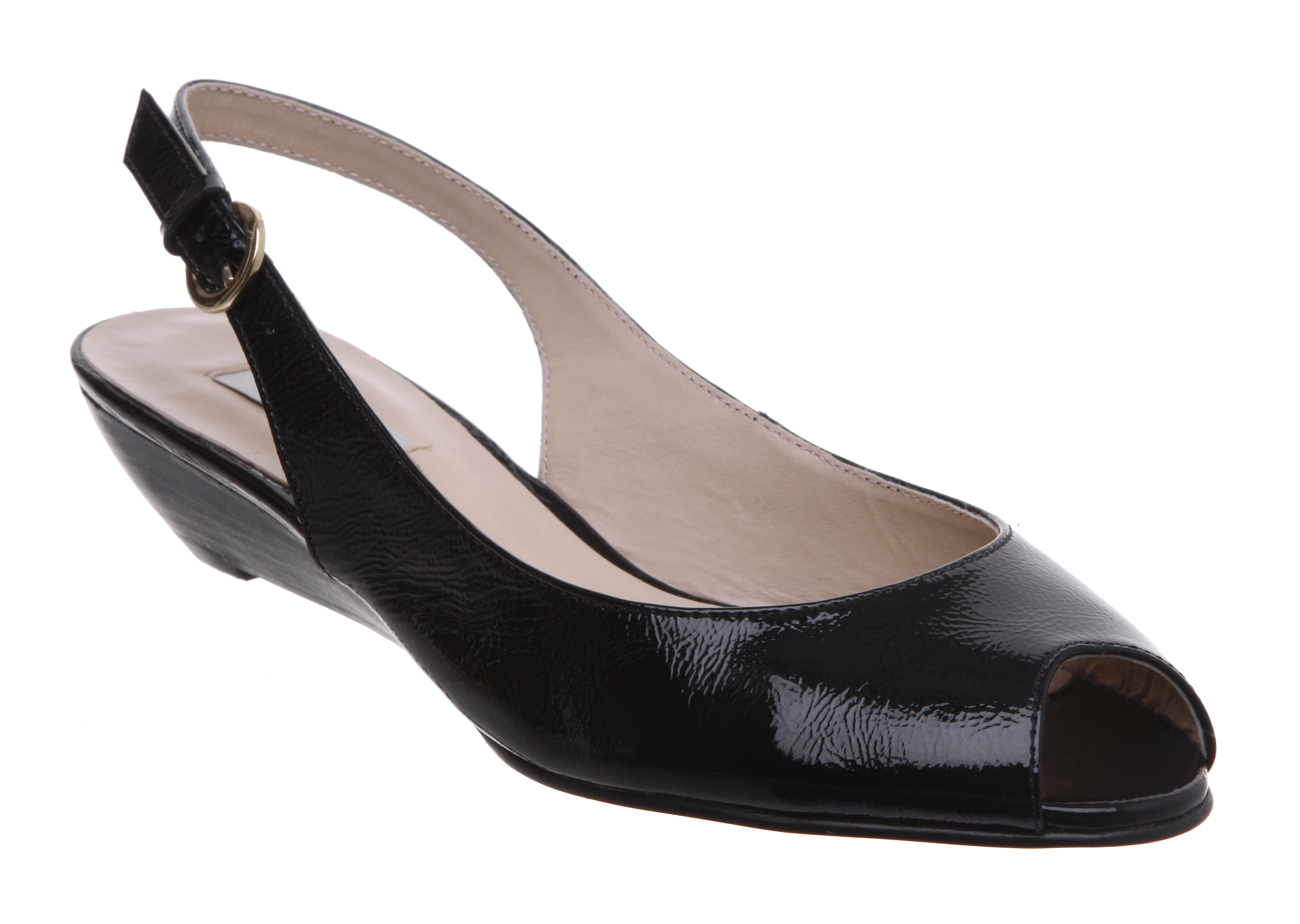 new dune womens black patent low wedge heel