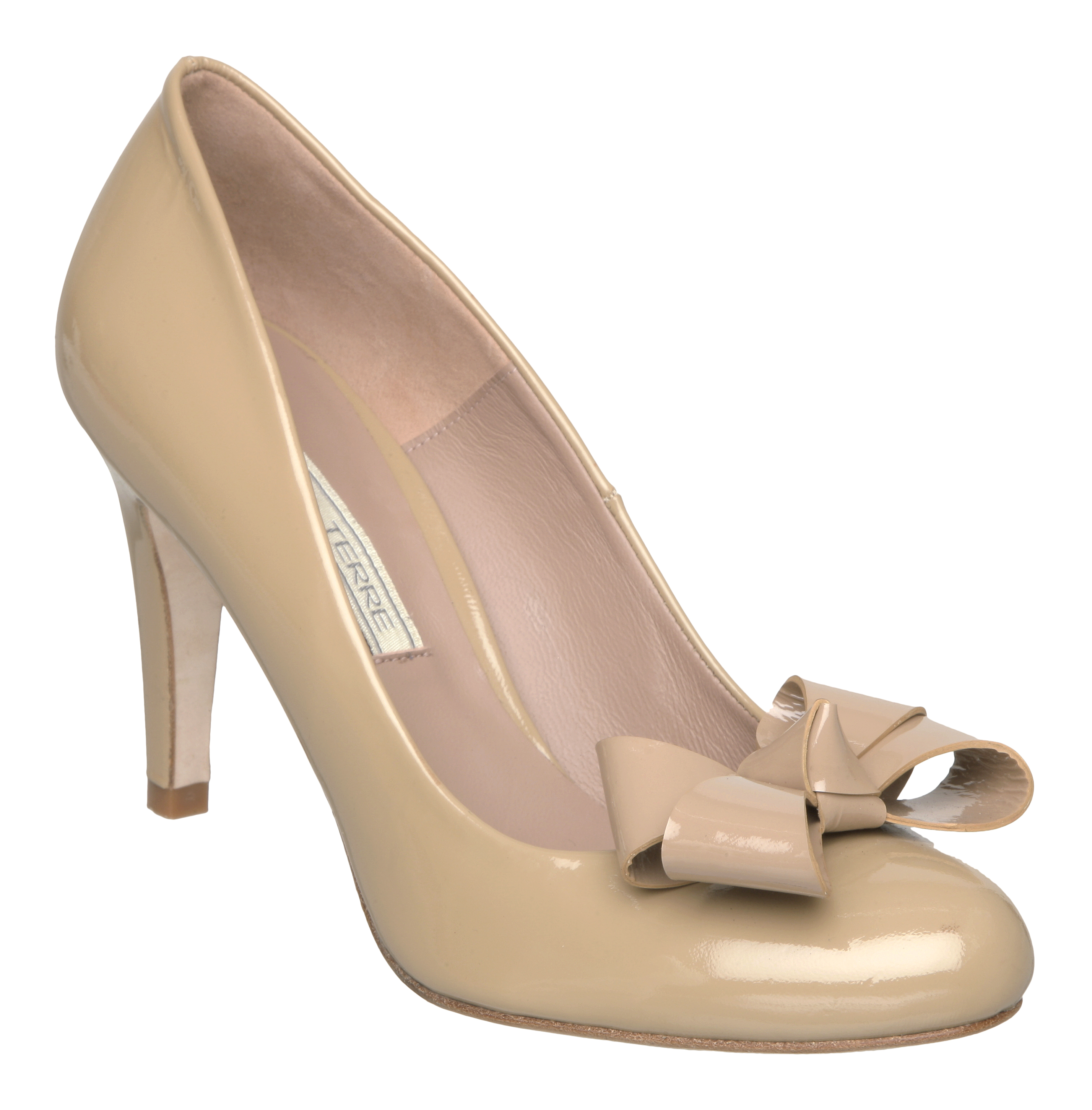 Pied A Terre Womens Aconite Beige Patent Ladies Bow Heel