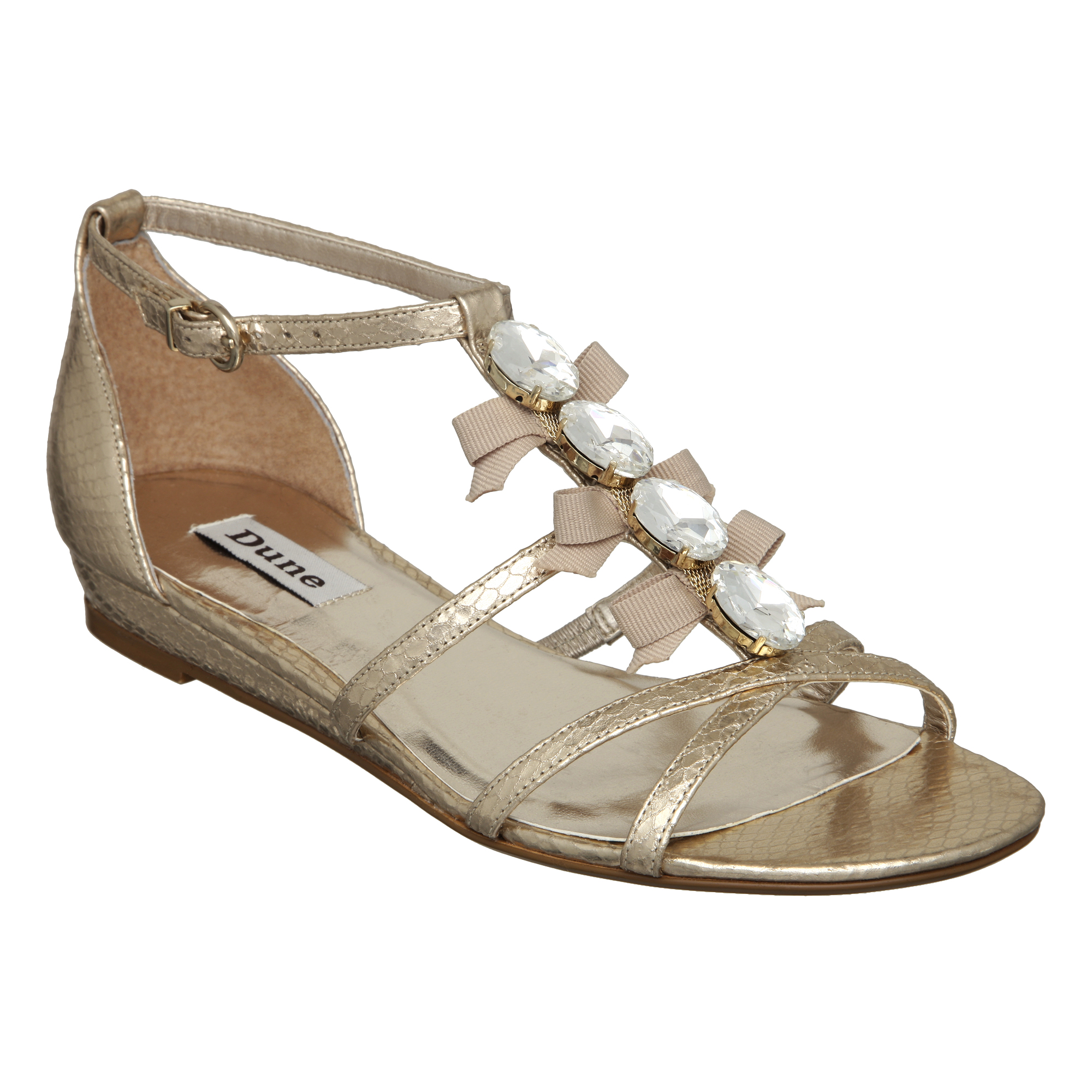 NEW-DUNE-WOMENS-KAISIE-CHAMPAGNE-GOLD-DIAMANTE-LADIES-BOW-SANDALS-SHOES-SIZE-3-8