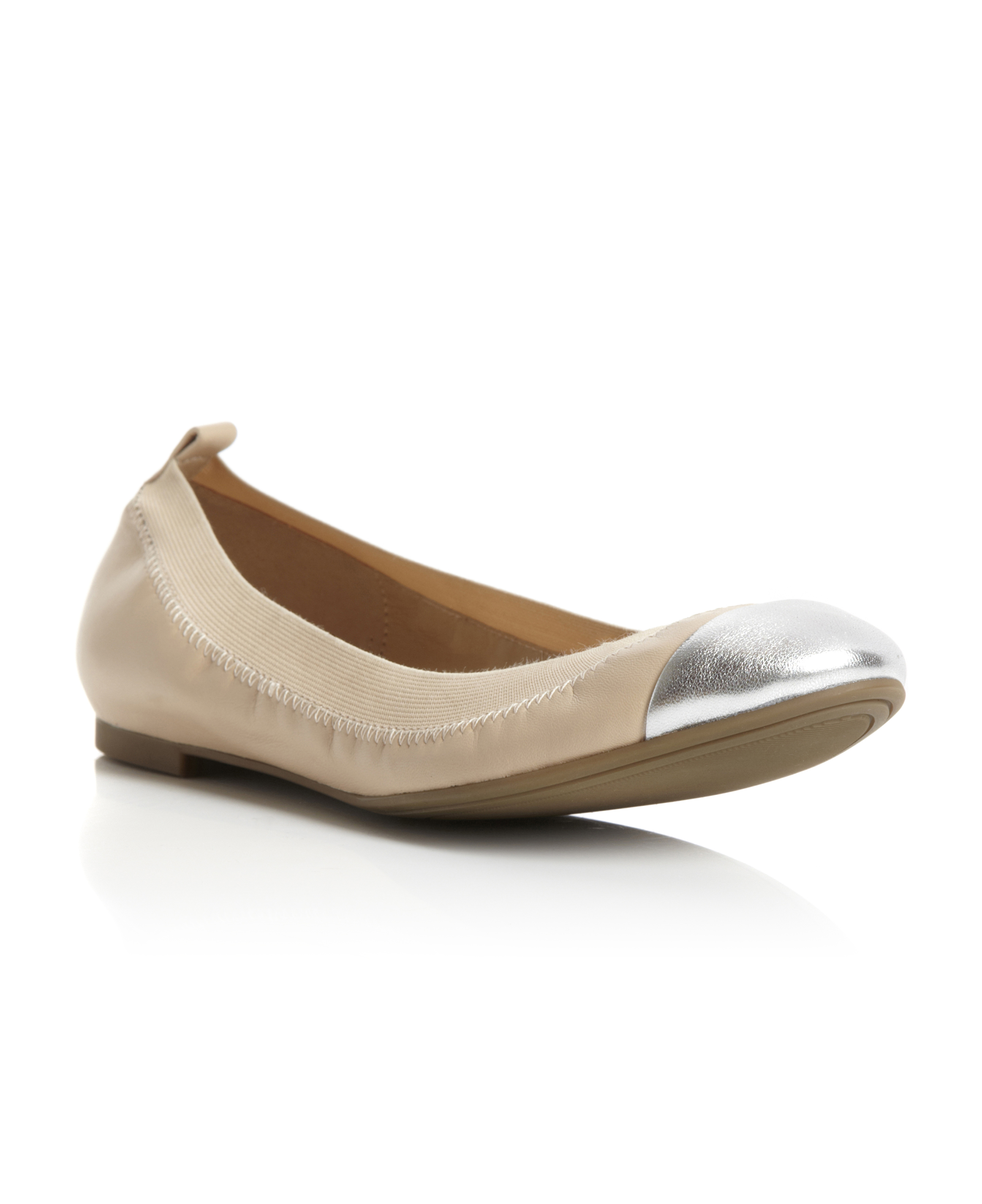 DD3-DUNE-WOMENS-NUDE-LEATHER-LADIES-METALLIC-TOE-CAP-BALLERINA-SHOES-SIZE-3-8-UK