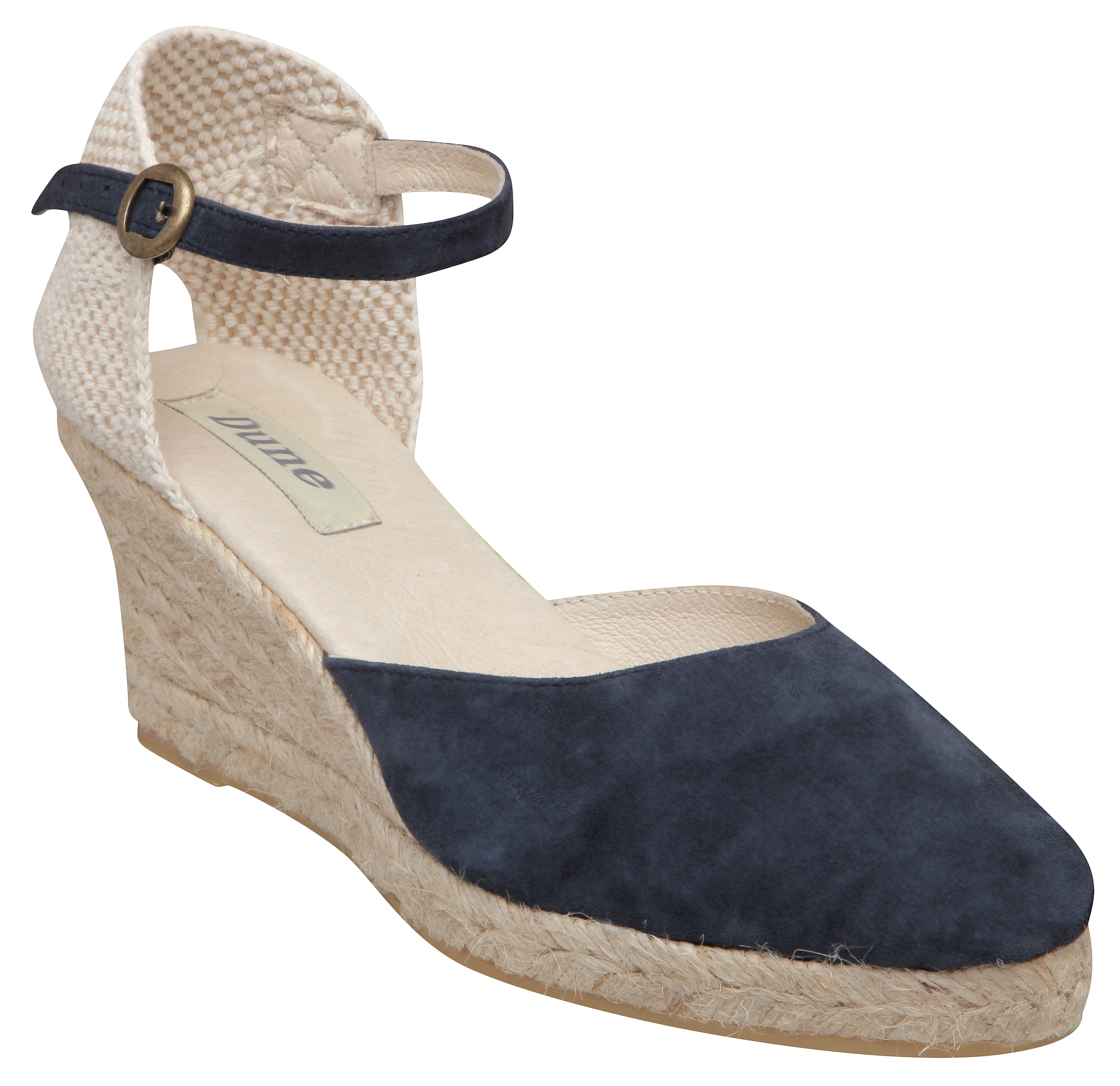 dune womens nashville navy blue espadrille wedge