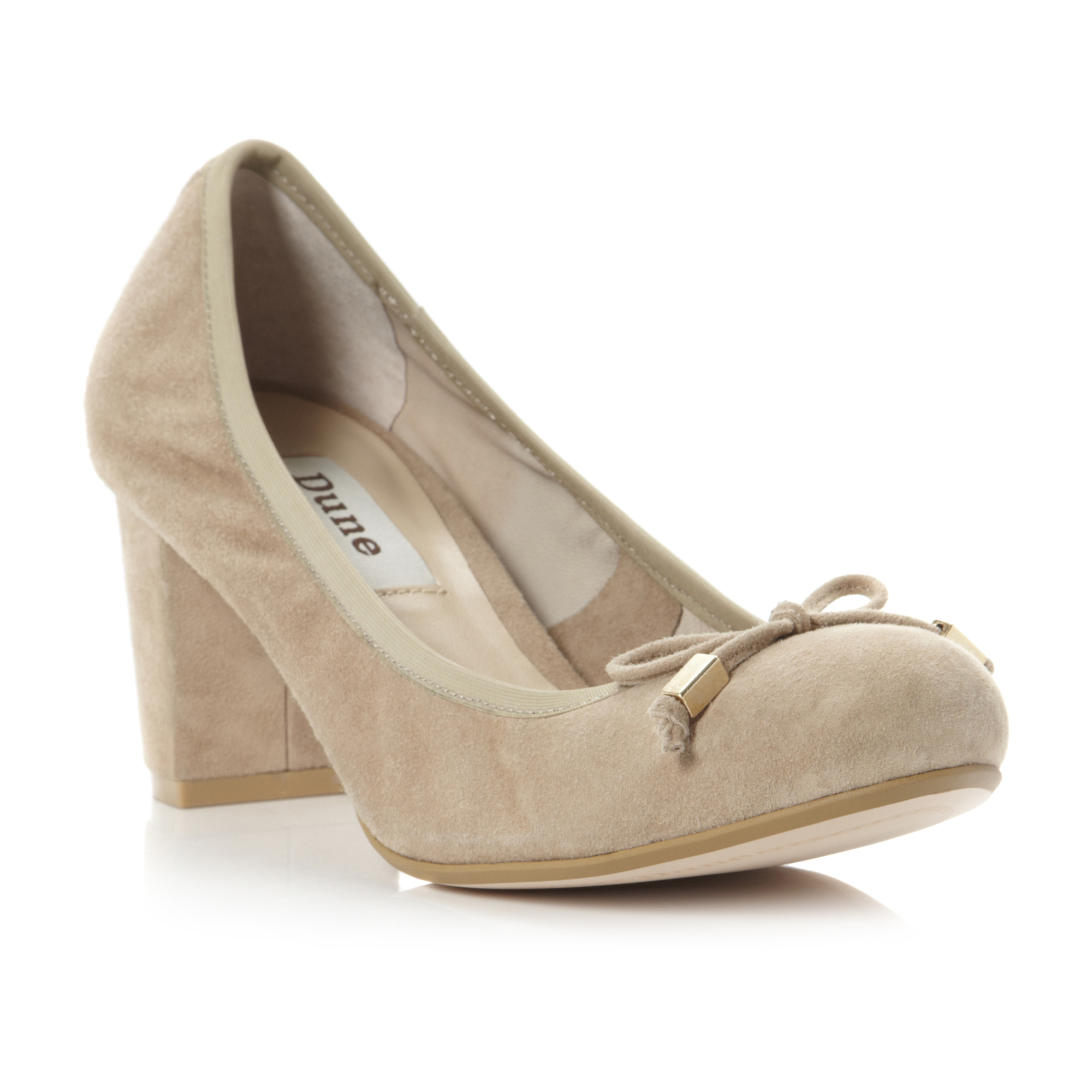 NEW-DUNE-LADIES-ACTIVE-WOMENS-NUDE-SUEDE-MID-BLOCK-HEEL-COURT-SHOES-SIZE-3-8-UK