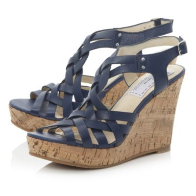 BERTIE LADIES GRACIE WOMENS NAVY BLUE STRAPPY GLADIATOR ...