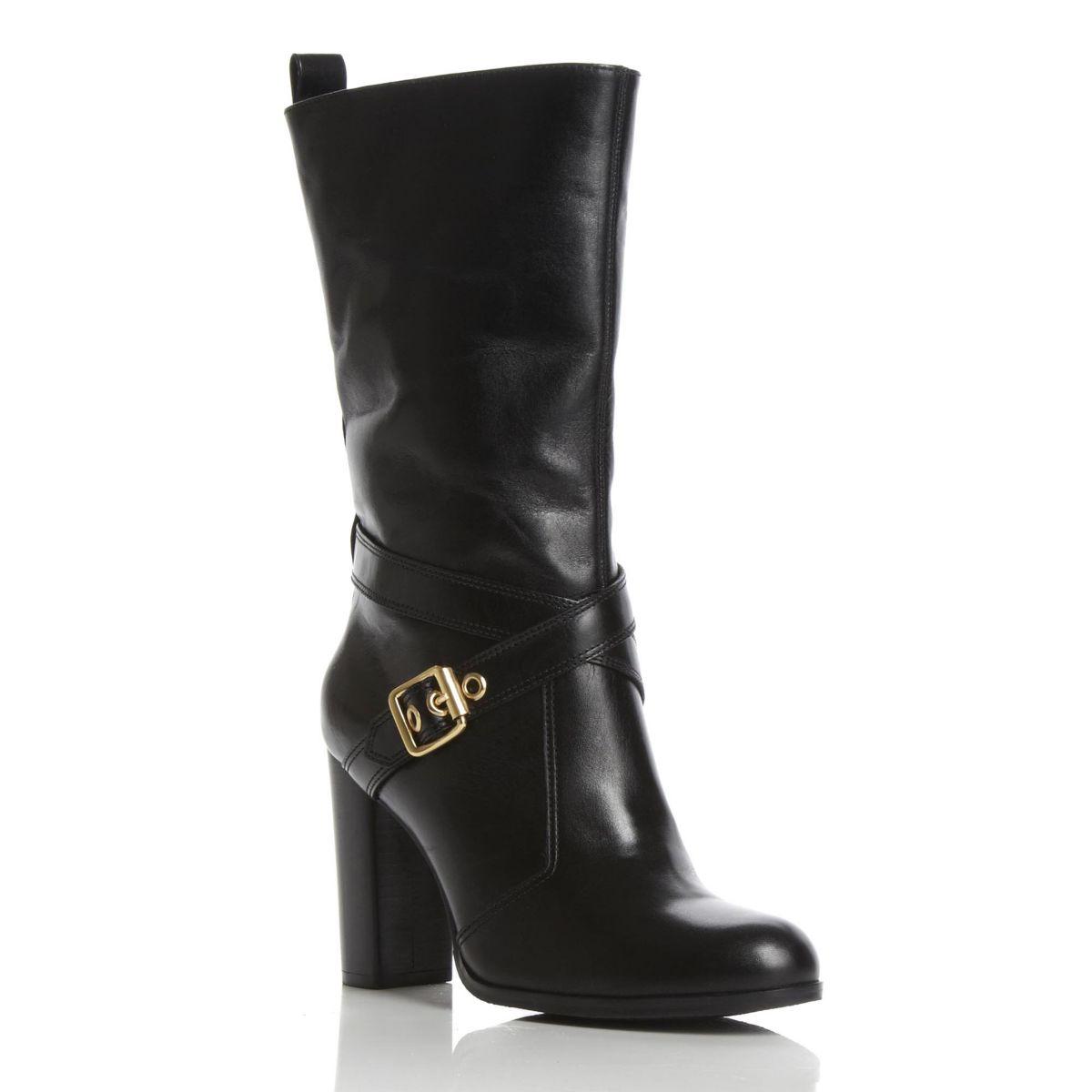 new dune roma womens black gold buckle heeled