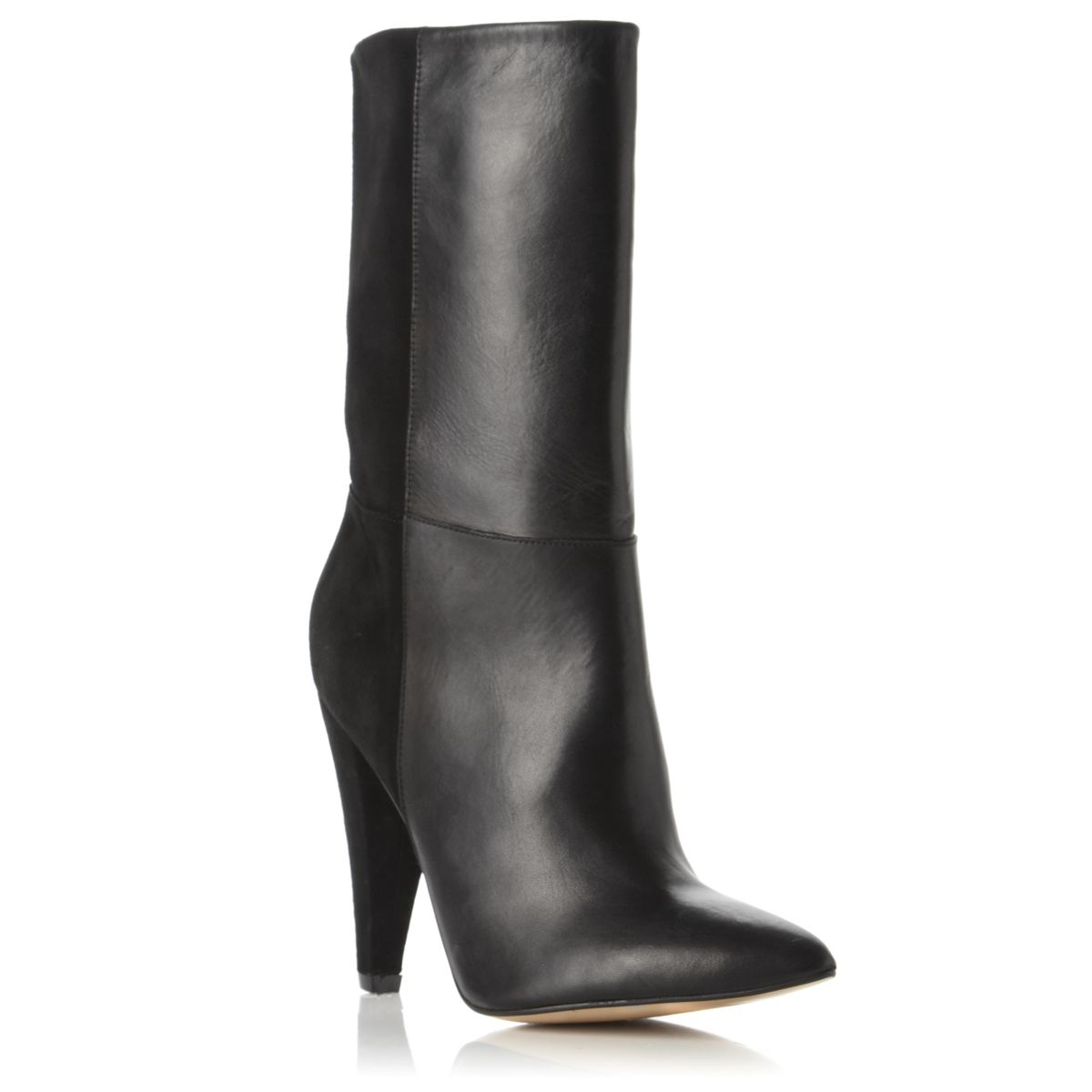 DUNE-ROSE-WOMENS-BLACK-LADIES-LEATHER-POINTED-SUEDE-PANEL-CALF-BOOTS-SIZE-3-8